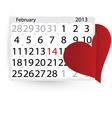 Valentines calendar vector image vector image