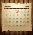 Wood Calendar 2014 Happy new year vector image vector image