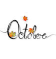 word october is drawn with a single black line vector image vector image