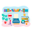 working space of the writer literary work vector image vector image