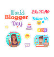 world blogger day cake with candles set vector image vector image