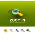 Zoom in icon in different style vector image