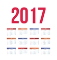 Nice and simple colorful 2017 calendar vector image