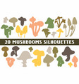 20 mushroom silhouettes various design set vector image