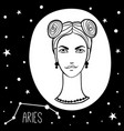 aries woman with zodiac sign vector image vector image
