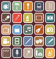 Art flat icons on red background vector image vector image