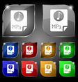 Audio MP3 file icon sign Set of ten colorful vector image vector image