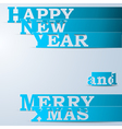 Blue Happy New Year Merry Xmas paper strips vector image