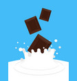 chocolate falling in milk white spray sweet dairy vector image