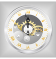 clock-skeleton with golden figures vector image vector image
