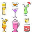 collection stock drink style doodle set vector image vector image