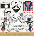 creative set of hipster must have vector image vector image
