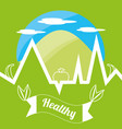 cute healthy lifestyle logotype with mountain and vector image vector image