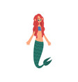 cute little red haired mermaid fairytale mythical vector image vector image