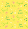 ecology seamless pattern with recycling symbol and vector image