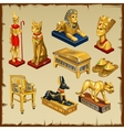 egyptian set statues made gold eight items vector image vector image