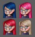 emotion icons smile female in glasses vector image