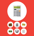 flat icon gain set of billfold cash calculate vector image vector image