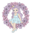 flower princess birthday party cartoon vector image vector image