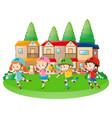 four children rollerskating in neighborhood vector image vector image