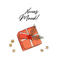 gift box with name card and pine branch for vector image