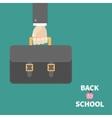 Hand holding black schoolbag briefcase Flat design vector image vector image
