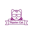 hipster cat in sunglasses outline logotype vector image