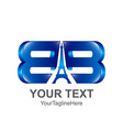 initial letter bb logo template colored blue vector image vector image