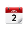 June 2 flat daily calendar icon Date and vector image vector image