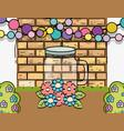 mason jar flowers balls garland wall brick vector image