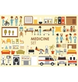 Medical Big Collection in flat design background vector image vector image
