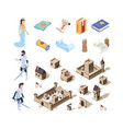 medieval isometric buildings fairytale symbols vector image vector image