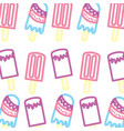 neon bright delicious ice cream popsicles pattern vector image