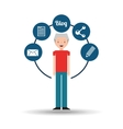 old man standing with social network icon vector image vector image