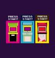 press start vintage arcade design vector image