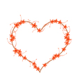 Red Bush Willow Flowers in A Heart Shape vector image vector image