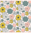 seamless pattern with blooming flowers and berries vector image vector image