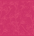 seamless pattern with magnolia tree blossom pink vector image vector image