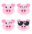set of cute pig faces isolated on white vector image