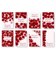 set of greeting cards with rose petals vector image vector image