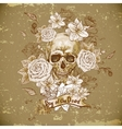 Skull with Roses Day of The Dead vector image vector image