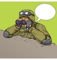 Soldier looks through binoculars from the trenches vector image vector image