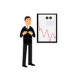 stressed businessman character standing against a vector image