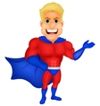 Superhero cartoon presenting vector image