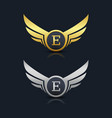 wings shield letter e logo template vector image vector image