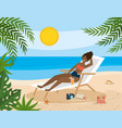 woman wearing swimsuit and taking sun in the vector image vector image