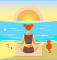 woman meditating on a beach vector image