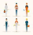 service workers cartoon characters set vector image