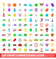 100 sport competition icons set cartoon style vector image vector image
