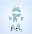 a hat with a fluffy pompon a scarf mittens vector image vector image